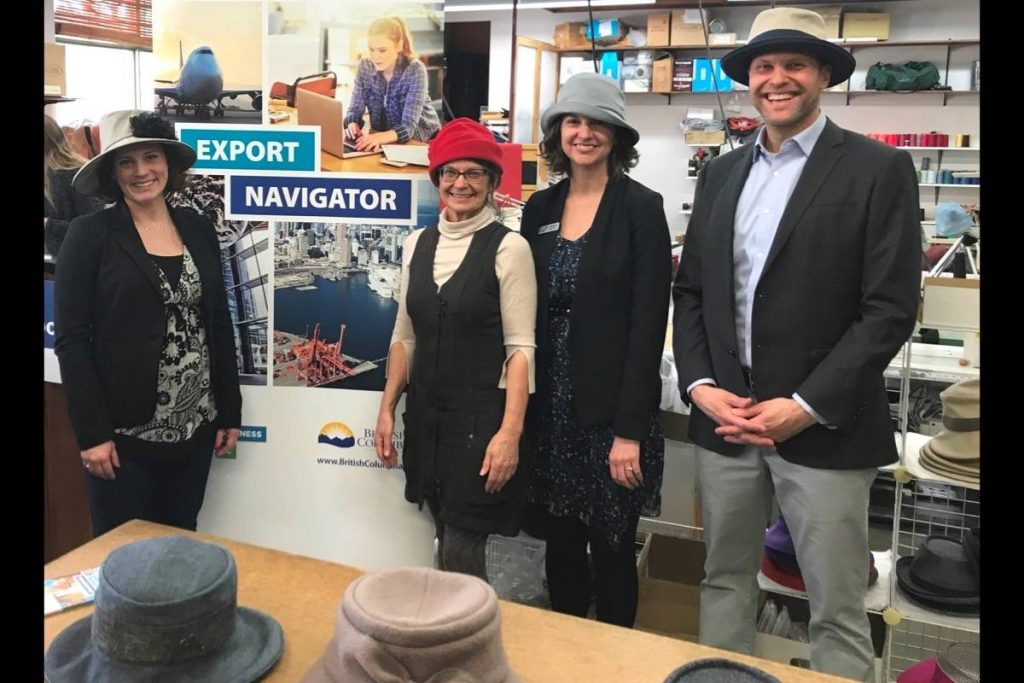 Michelle Mungall, MLA for Nelson-Creston, Liz Cohoe, owner of Lillie and Cohoe, Andrea Wilkey, Executive Director, Community Futures Central Kootenay, and Michael Hoher, Export Navigator advisor.
