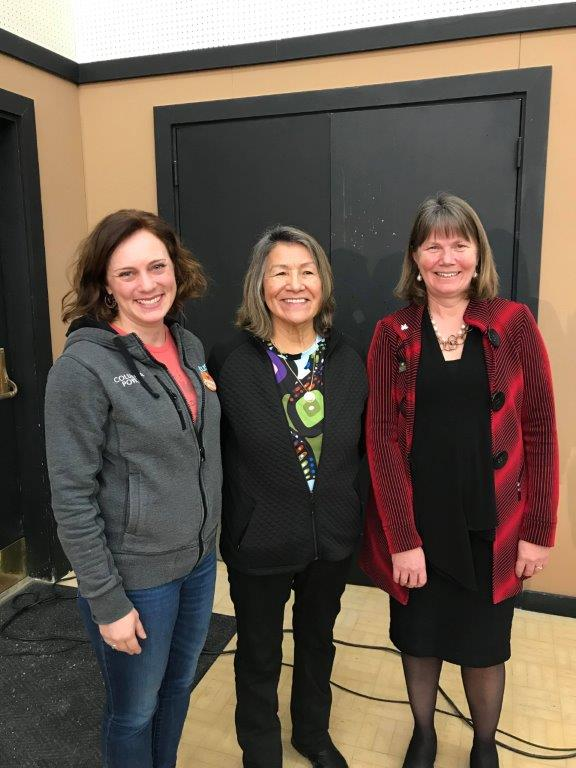 MLA Mungall, Kathryn Teneese, Ktunaxa Naion Council Chair and  Nancy Newhouse, Nature Conservancy of Canada